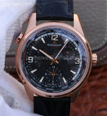 Polaris Geographic WT RG Black Textured Dial Black Leather Strap A936