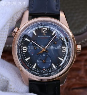 Polaris Geographic WT RG Blue Textured Dial Black Leather Strap A936