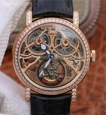 Giga Tourbillon RG Skeleton Dial Diamonds Bezel Brown Leather Strap