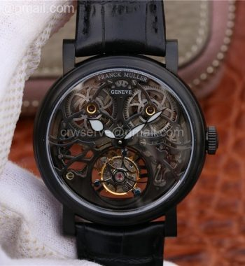 Giga Tourbillon PVD Skeleton Dial Black Leather Strap