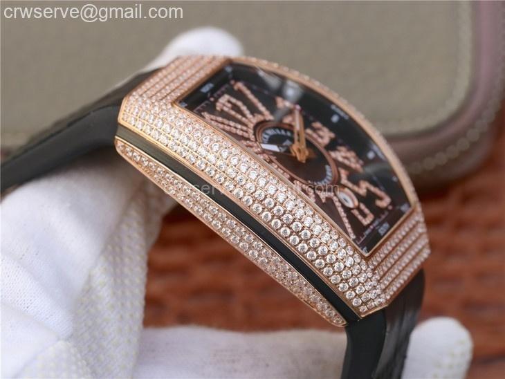 Vanguard V45 RG Full Diamonds OXF Black Dial Diamonds Markers Black Strap A2824