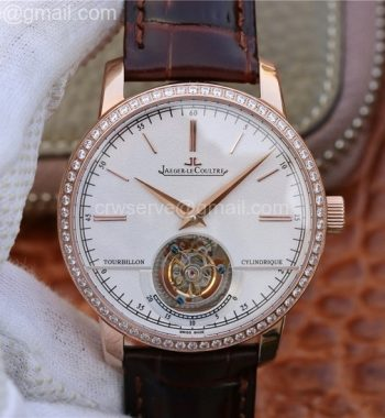 Master Grand Tourbillon R8F RG White Dial Diamonds Bezel Brown Leather Strap