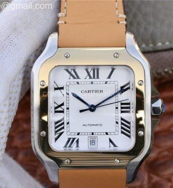 Santos de Cartier Large 2018 KOR YG Bezel White Dial Brown Leather Strap MIYOTA 9015