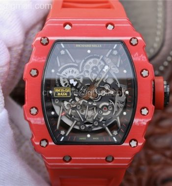 RM035-02 Forge Carbon Case And Bezel Skeleton Dial Red Rubber Strap MIYOTA8215