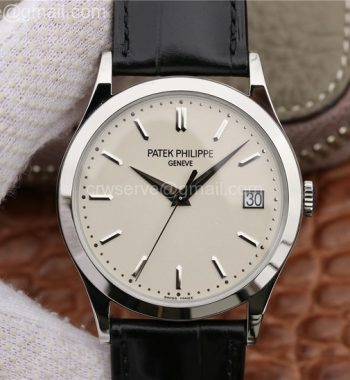 Calatrava 5296G SS ZF Ivory Dial Black Leather Strap 324CS