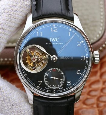 Portuguese Tourbillon IW5463 SS ZF Black Dial Black Leather Strap