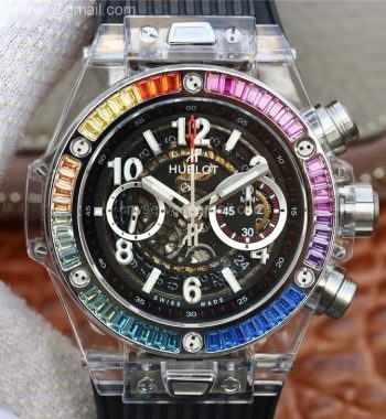 Big Bang Unico Magic Sapphire 45mm OXF Rainbow Crystal Bezel White Dial Black Rubber Strap A1242