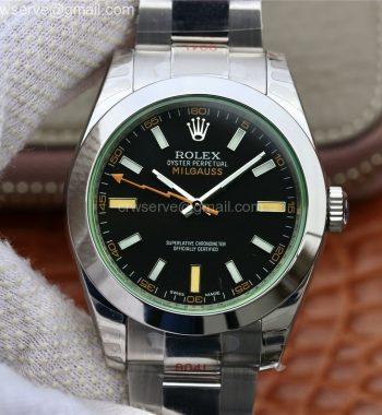 Milgauss 116400 GV Real Green Sapphire 904L DJF Black Dial SS Bracelet A2836