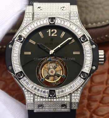 Big Bang Tourbillon SS Diamonds Black Dial Black Rubber Strap