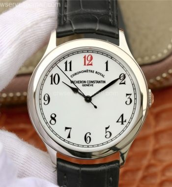 Historiques Chronomètre Royal 1907 SS GSF White Dial Red 12 Black Leather Strap MIYOTA 9015