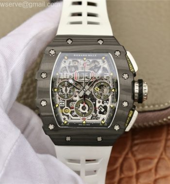 RM011 Carbon Case Chrono KVF Edition Crystal Skeleton Yellow Dial White Racing Rubber Strap A7750
