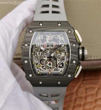 RM011 Carbon Case Chrono KVF Edition Crystal Skeleton Yellow Dial Racing Rubber Strap A7750