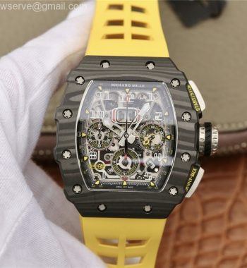 RM011 Carbon Case Chrono KVF Edition Crystal Skeleton Yellow Dial Yellow Racing Rubber Strap A7750
