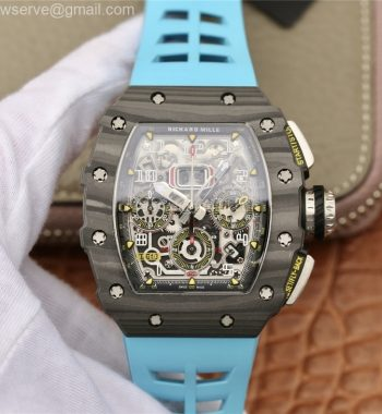 RM011 Carbon Case Chrono KVF Edition Crystal Skeleton Yellow Dial Blue Racing Rubber Strap A7750
