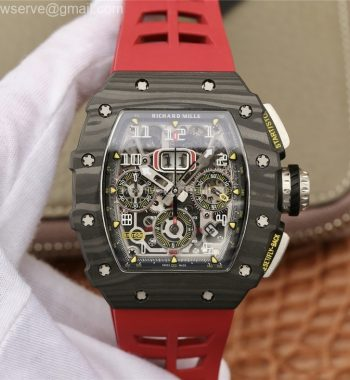 RM011 Carbon Case Chrono KVF Crystal Skeleton Yellow Dial Red Racing Rubber Strap A7750