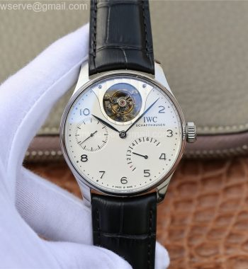 Portuguese Tourbillon IW5046 SS ZF Edition White Dial SS Markers Black Leather Strap