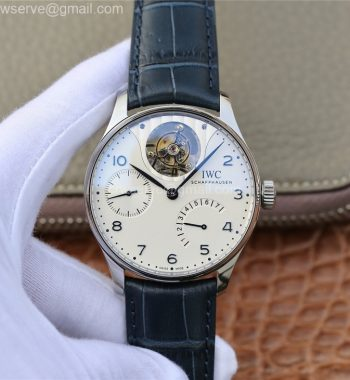 Portuguese Tourbillon IW5046 SS ZF Edition White Dial Blue Markers Blue Leather Strap