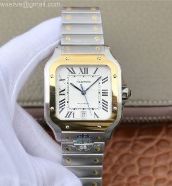 Santos de Cartier 40mm 2018 BVF Edition YG Bezel White Dial SS SmartLinks Bracelet MIYOTA 9015