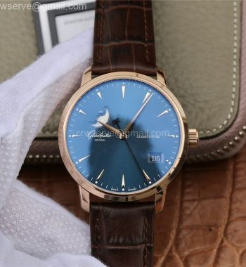 Excellence Panorama Date Moon Phase RG ETCF Blue Dial Brown Leather Strap A100
