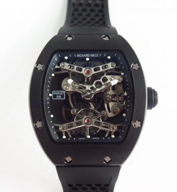RM027 Real Tourbillon EURF Skeleton Dial Black Rubber Strap