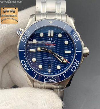 2018 Seamaster Diver 300M VSF Blue Ceramic Blue Dial SS Bracelet A8800