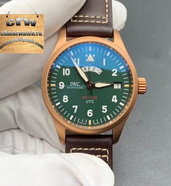 UTC Spitfire Edition MJ271 Bronze IW327101 XF Green Dial Brown Leather Strap A2836
