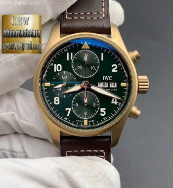 Pilot Chrono Spitfire IW387902 Bronze ZF Green Dial Brown Leather Strap A7750