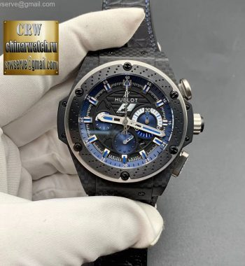 Big Bang Ferrari F1 Carbon Fiber V6F Limited Edition Black/Blue Dial Black Leather Strap HUB4100