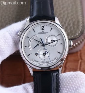 Master Geographic Real PR SS ZF White Dial Black Leather Strap A939
