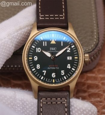 Spitfire Automatic Bronze IW326802 MKF Edition Green Dial Brown Leather Strap MIYOTA 9015