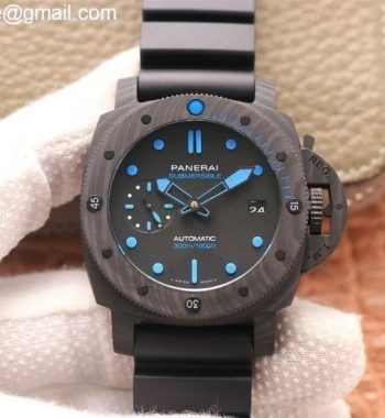PAM960 Carbotech 42mm VSF Edition Black Dial Blue Markers Rubber Strap P.9010 Clone