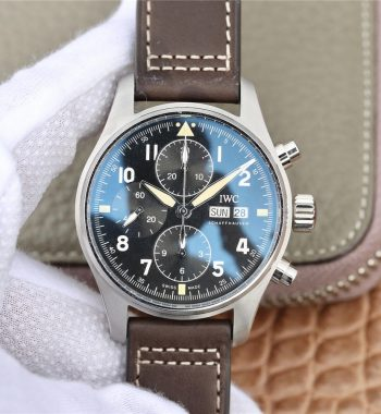 Pilot Chrono Spitfire IW387903 SS ZF Edition Black Dial Brown Leather Strap A7750