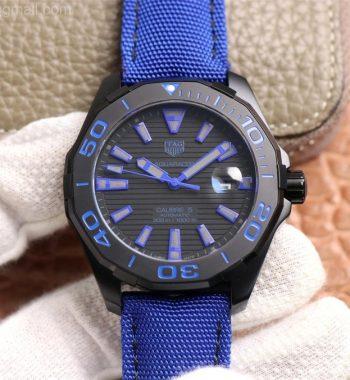 Aquaracer Calibre 5 PVD 43mm V6F Edition Black/Blue Dial Blue Nylon Strap A2824