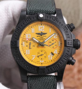 Avenger Hurricane 45mm Chrono GF Edition Yellow Dial Black Nylon Strap A7750