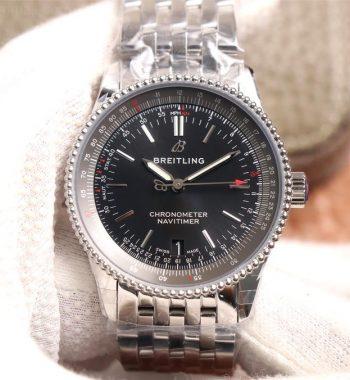 Navitimer 1 38mm SS KOR Edition Black Dial Black Inner Bezel SS Bracelet SW200