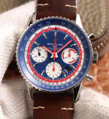 Navitimer B01 Chronograph 43 V9F Blue Dial Brown Leather Strap A7750
