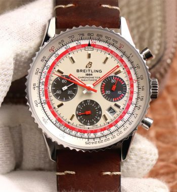 Navitimer B01 Chronograph 43 SS V9F White Dial Brown Leather Strap A7750