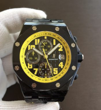 Royal Oak Offshore Bumble Bee Forged Carbon JF Edition Leather Strap A7750