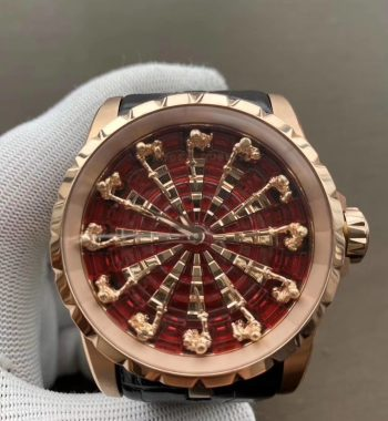 Excalibur Knights of the Round Table II RG ZZF Red/Gold Crystal Dial Black Leather Strap MIYOTA 8215