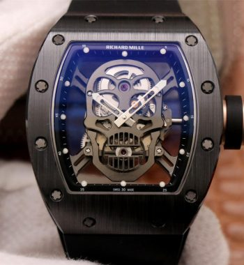 RM052 Skull Black Ceramic ZF Edition PVD Skeleton Dial Black Rubber Strap NH05A