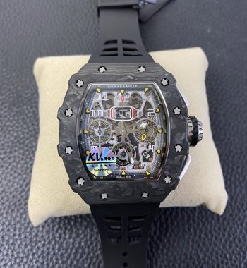 RM011 Carbon Case Chrono KVF Edition Crystal Skeleton Yellow Dial Black Racing Rubber Strap A7750