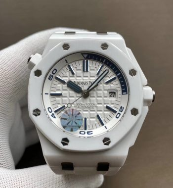 Royal Oak Offshore Diver Solid White Ceramic JF Edition White Rubber Strap A3120