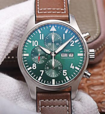 Pilot Chrono IW377726 ZF Edition Green Dial Brown Leather Strap A7750