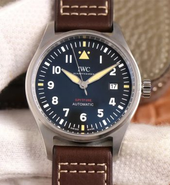 Spitfire SS IW326803 MKF Edition Black Dial Brown Leather Strap MIYOTA 9015