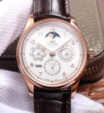 Portugieser Perpetual Calendar IW503302 RG V9F Edition White Dial Brown Leather