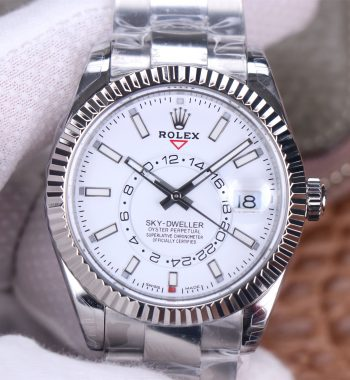 Size: 42mm x 15mm Movement: Asian 23J automatic movement at 21600 vph decorated to rolex 9001 movement Functions: Hours, minutes, seconds, date, month and 24hours display (the month display only works via manual adjustment of the bezel, it doesn't work automatically) Case: Solid 316L stainless steel case Crystal: Scratch-proof sapphire crystal Dial: White dial Bezel: Fluted stainless steel bezel Strap: Stainless steel bracelet Clasp: Deployant clasp