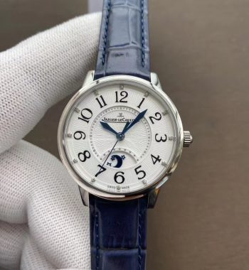 Rendez-Vous Night & Day SS Polished Bezel ZF Edition White Textured Dial Blue Leather Strap A898