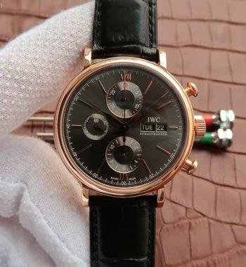 V6 Portofino IW391021 Chronograph RG Gray Dial Leather Strap