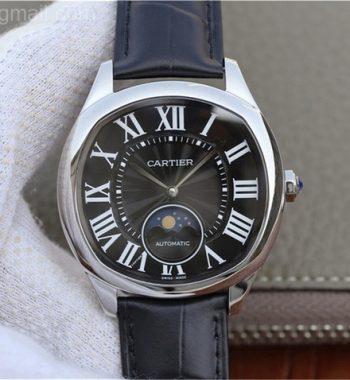 Drive de Cartier SS Black Textured Dial Leather Strap A9015