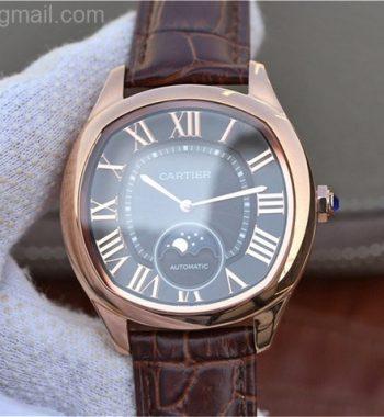 Drive de Cartier RG Black Textured Dial Leather Strap A9015